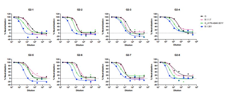 Wykres pokazujący skuteczność szczepionki Moderny na nowe mutacje wirusa SARS-CoV-2